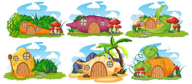 Insieme delle case isolate di fiaba con stile del fumetto del cielo su fondo bianco