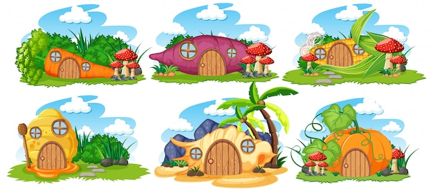Set of isolated fairy tale houses with sky cartoon style on white background