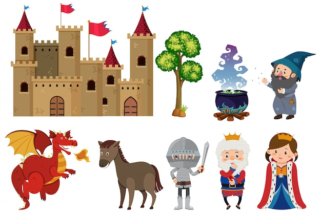 Set of isolated fairytale characters