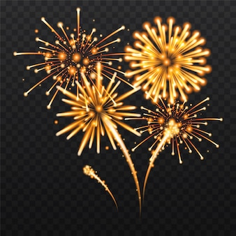 Set of isolated festive fireworks on a black background