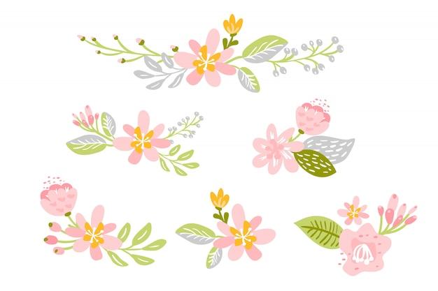 Set of isolated flat flower on white background