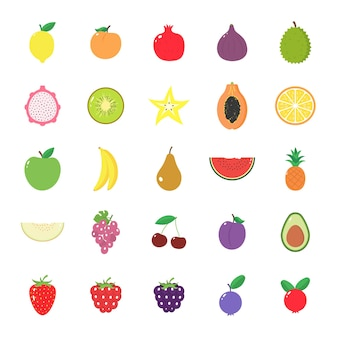Set of isolated  fruits and berries on a white background