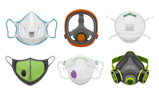 Set of isolated gas respirator and doctor face mask.