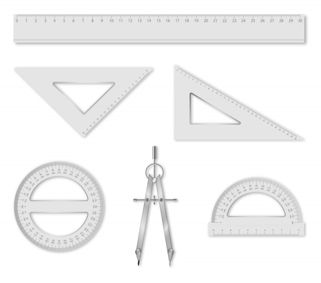 Set of isolated geometry items: ruler, set squares, protractors and compass. school accessories