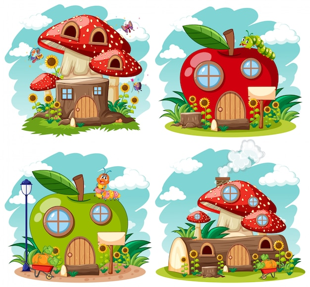 Set of isolated gnome fairy tale houses cartoon style on white background