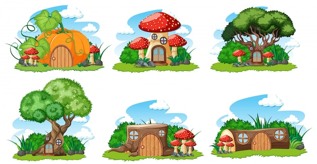 Set of isolated gnome fairy tale houses cartoon style