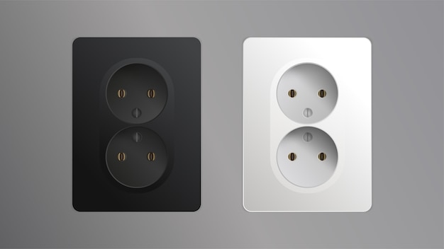 Set isolated on a gray background. realistic black and white socket. element for interior design illustration