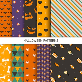 Set of isolated halloween background