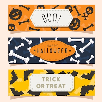 Set of isolated halloween flyer pattern