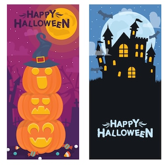 Set of isolated halloween flyer