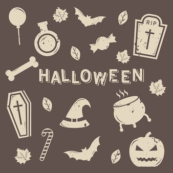 Set of isolated halloween icon vector