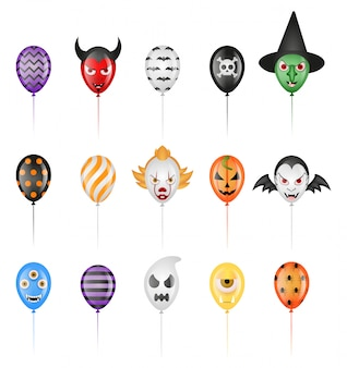 Set of isolated halloween party balloons