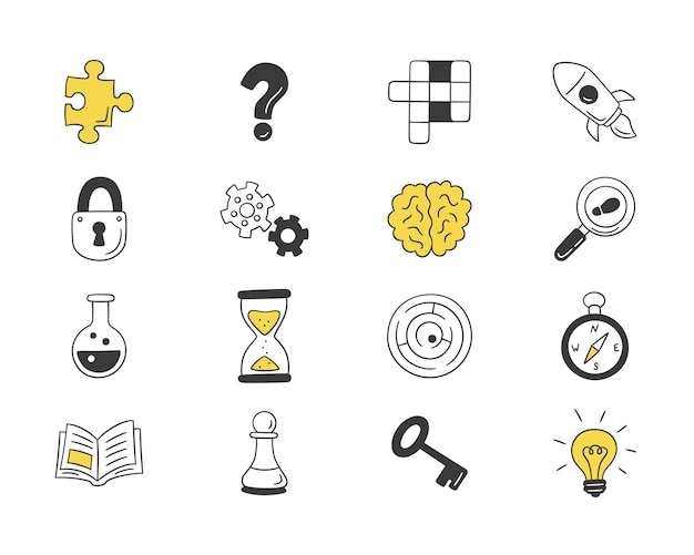 Set of isolated hand drawn icons of puzzles and riddles