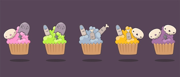 Set of isolated icons for halloween. flat images of muffins with spooky decorations. decorating cupcakes with skulls, fingers, crossed and tombstones.