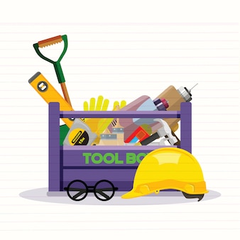 Set isolated icons set building tools repair.kit flat style. tool box. vector illustration