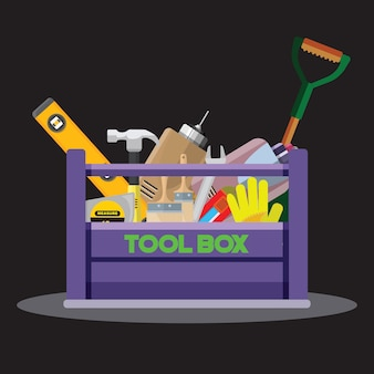 Set isolated icons set building tools repair.kit flat style. tool box.