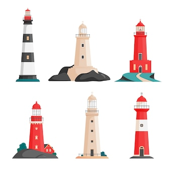 Set of isolated lighthouses on islands in flat style