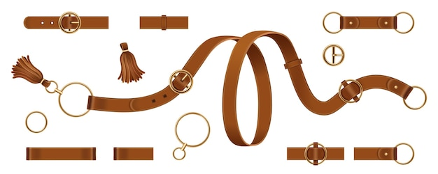 Set of isolated man and woman leather or lethern belt