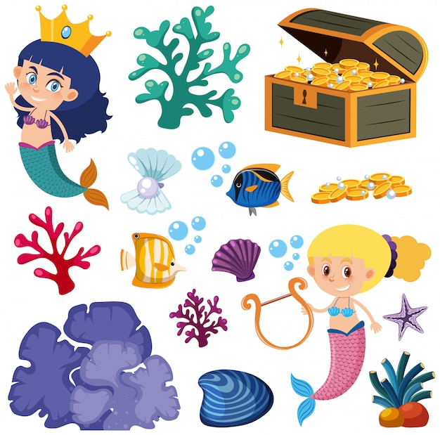 Set of isolated mermaid and fish