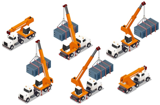 Set of isolated modular frame building isometric elements with images of trucks with cranes and containers