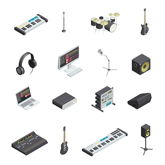 Set of isolated music recording studio gear icons with various musical instruments modules and mixin