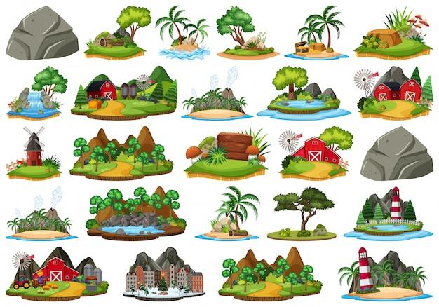 Set of isolated nature island