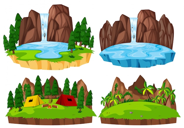 Set of isolated nature landscape
