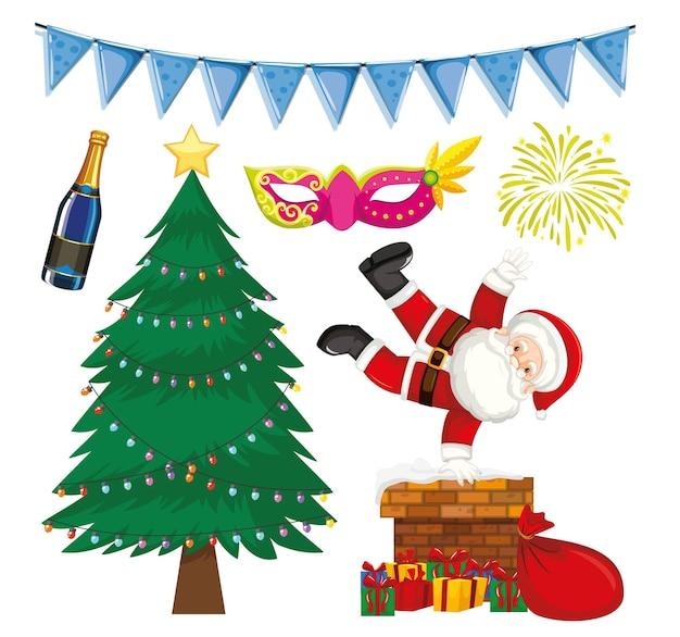 Set di oggetti isolati a tema natalizio