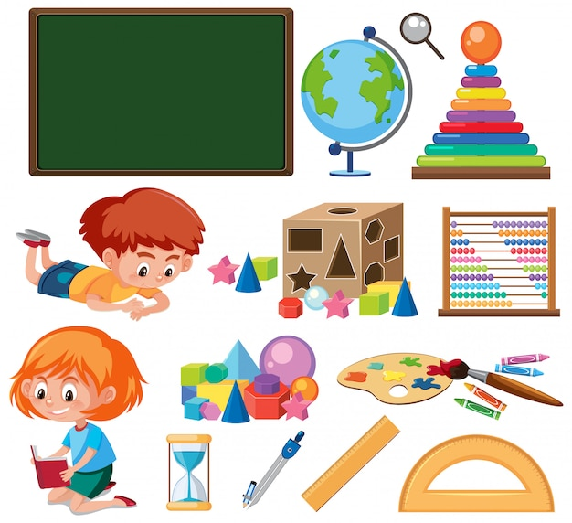 Set of isolated objects theme education