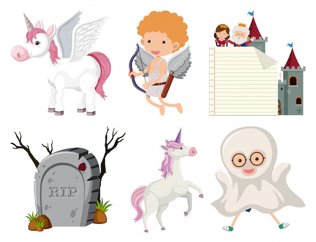 Set of isolated objects theme fairytale