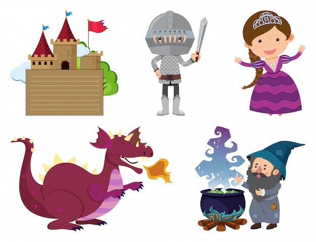 Set of isolated objects theme fairytales