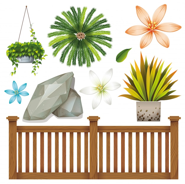 Set of isolated objects theme gardening