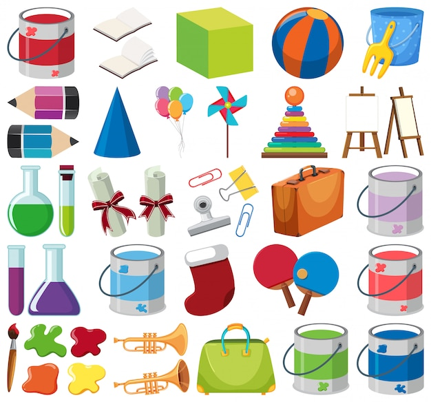 Set of isolated objects theme school