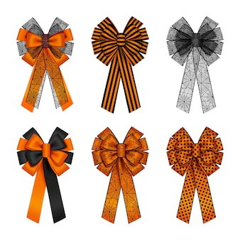 Set of isolated orange and black halloween bows