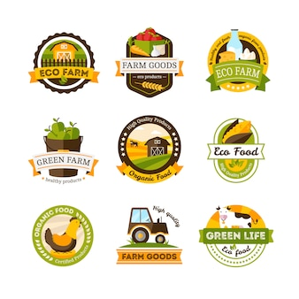 Set of isolated organic food farm emblems or labels set