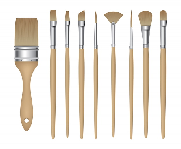 Set of isolated painting brushes