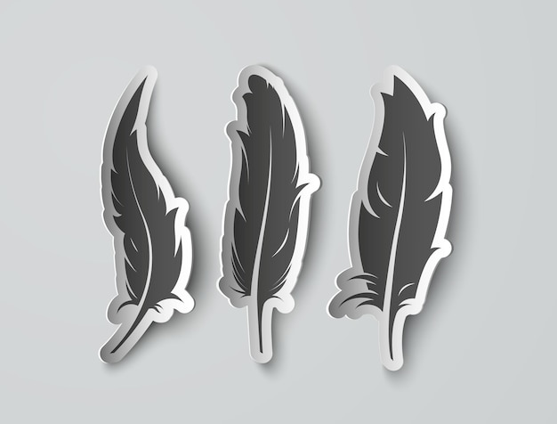 Set isolated paper feathers with shadows