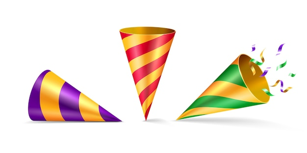 Set of isolated party hat or cone hat with confetti