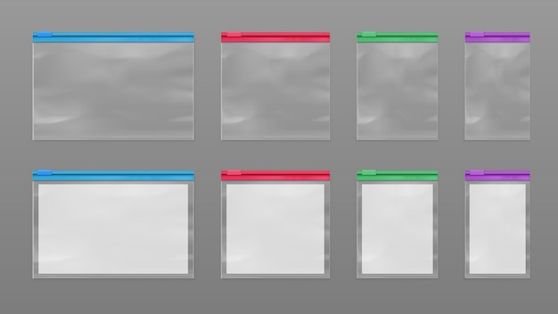 Set of isolated polymer bags or sealed pack with zip lock. realistic vector mockup of polythene transparent sachet with zip. empty pouch with zipper for food wrap and retail. package or packet