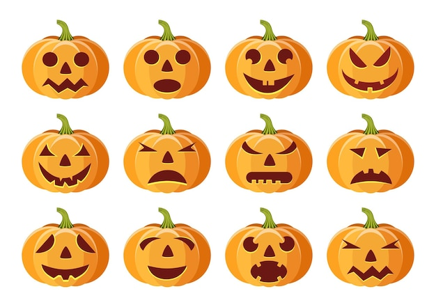Set of isolated pumpkins on white background.