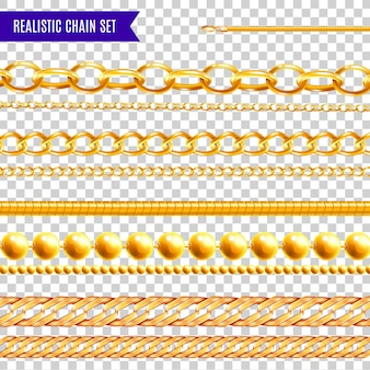 Set of isolated realistic chain transparent colorful  with golden jewelry various patterns and different shapes  illustration