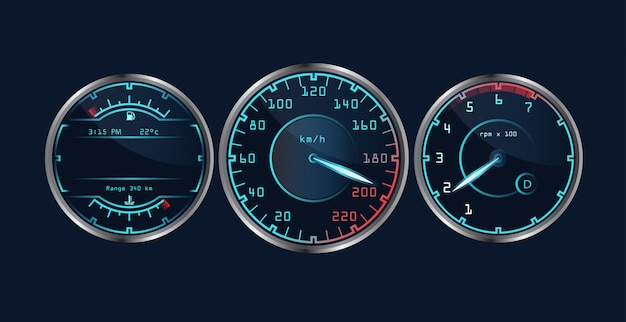 Set of isolated realistic dashboard speedometers.