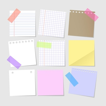 Set of isolated realistic empty paper notes