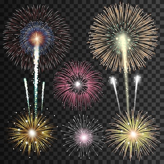 Set of isolated realistic  fireworks on transparent background