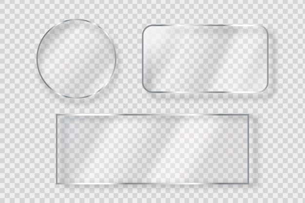 Set of isolated realistic glass billboard for decoration and covering on the transparent background.