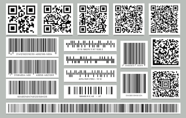 Set of isolated rectangle barcode and square qr code. label or sticker with qrcode and bar-code.