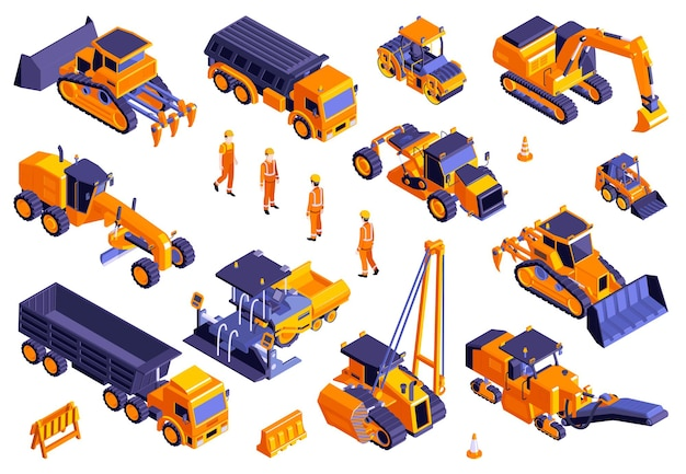 Set of isolated road construction s and isometric images of machinery trucks and bulldozers with workers