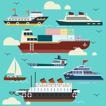 Set of isolated ship transportation flat style