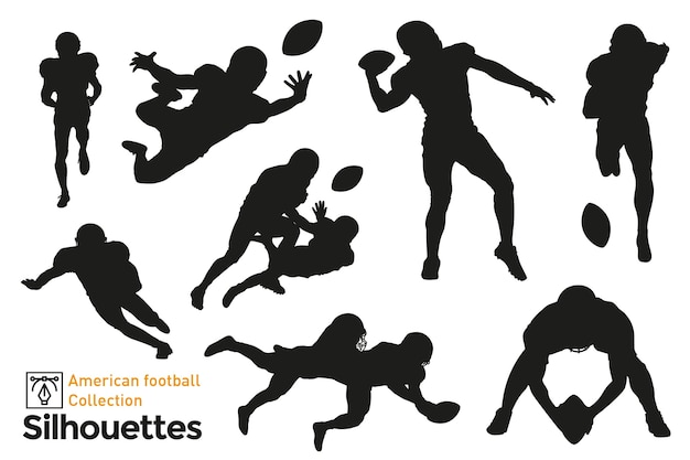 Set of isolated silhouettes of american football players in different poses.