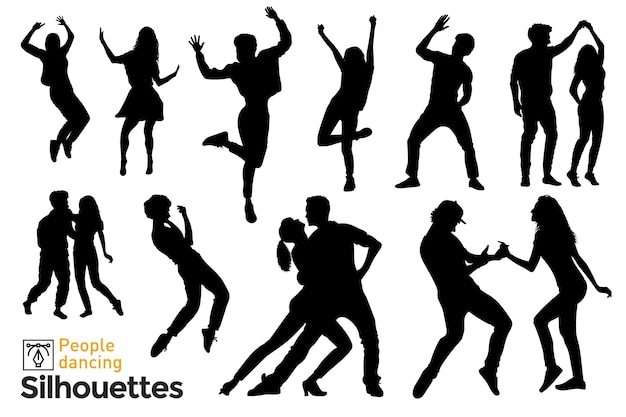 Set of isolated silhouettes of people dancing and having fun listening to music.